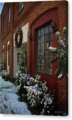 Christmas Decorations In Grants Pass Old Town  Canvas Print by Mick Anderson