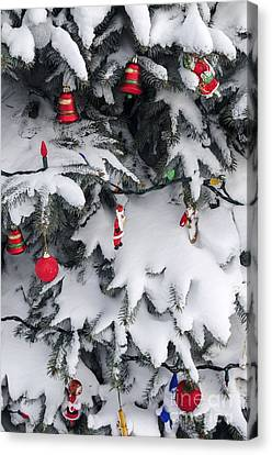 Sphere Canvas Print - Christmas Decorations On Snowy Tree by Elena Elisseeva