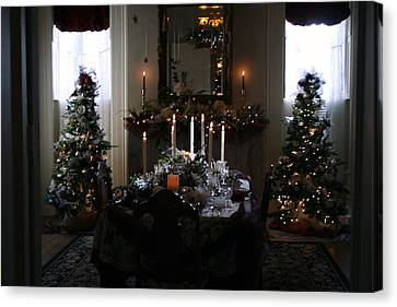 Christmas Dinner At The Mansion Canvas Print by Kay Novy