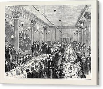Christmas Dinner Given To The Newsboys Of Manchester 1874 Canvas Print