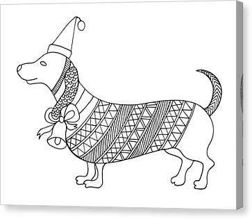 Christmas Dog Canvas Print by Neeti Goswami