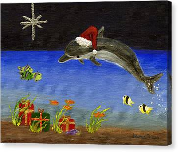 Christmas Dolphin And Friends Canvas Print by Jamie Frier