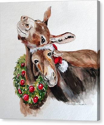 Christmas Donkeys Canvas Print by Carole Powell