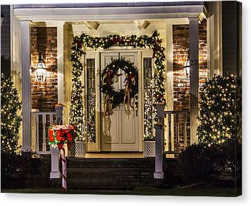 Canvas Print featuring the photograph Christmas Door 1 by Betty Denise