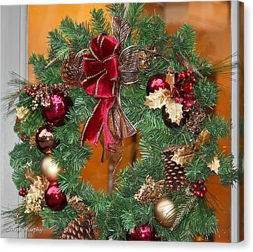 Canvas Print featuring the photograph Christmas Door Wreath by Ann Murphy