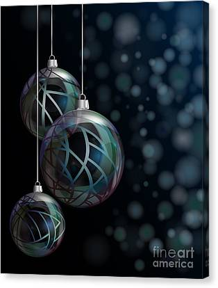 Christmas Elegant Glass Baubles Canvas Print by Jane Rix