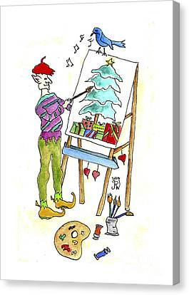 Artist At Easel Canvas Print - Christmas Elf Artie by Paula Joy Welter