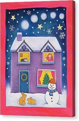 Snowy Night Night Canvas Print - Christmas Eve by Cathy Baxter