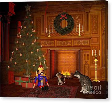 Christmas Eve Cats By The Fire Canvas Print by Fairy Fantasies