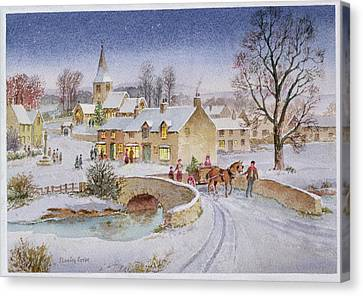 Horse And Cart Canvas Print - Christmas Eve In The Village  by Stanley Cooke