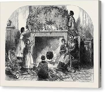 Christmas Eve, Putting Up The Mistletoe Canvas Print
