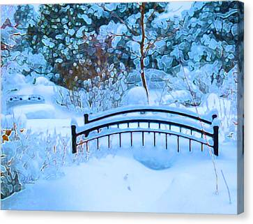 Christmas Eve Storm And The Little Garden Bridge Canvas Print by Douglas MooreZart