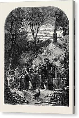 Christmas Eve, The Cottagers Return From Market Canvas Print