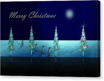 Christmas Eve Walk Of The Penguins  Canvas Print by David Dehner