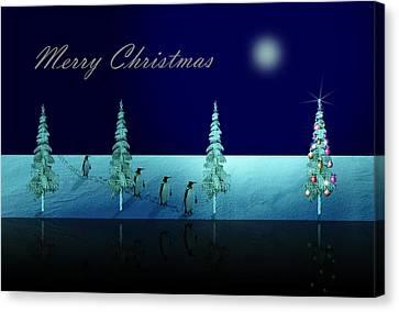 Slide Canvas Print - Christmas Eve Walk Of The Penguins  by David Dehner