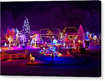 Christmas Fantasy Trees And Houses In Lights Canvas Print