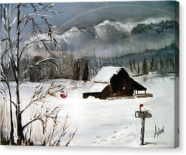 Christmas Farm House Canvas Print