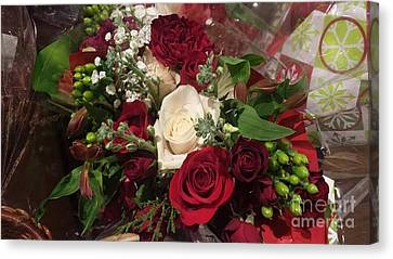 Christmas Floral Bouquet Canvas Print by Charlotte Gray