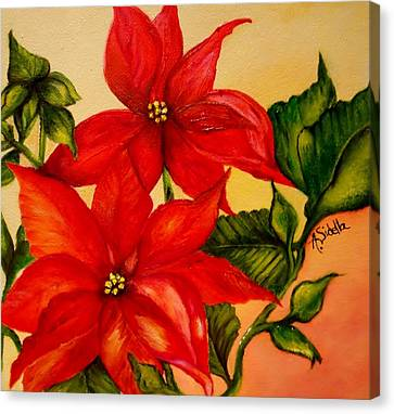 Christmas Flowers Canvas Print by Annamarie Sidella-Felts