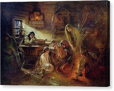 Christmas Fortune Telling Oil On Canvas Canvas Print by Konstantin Egorovich Makovsky