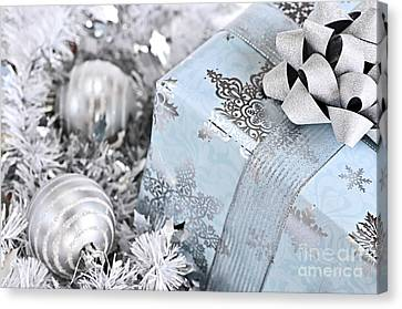 Wrapping Canvas Print - Christmas Gift Box And Decorations by Elena Elisseeva