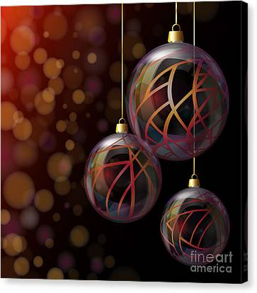 Christmas Glass Baubles Canvas Print by Jane Rix