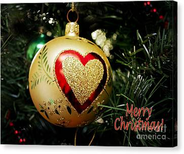 Christmas Gold Ball With Heart And Greeting Canvas Print