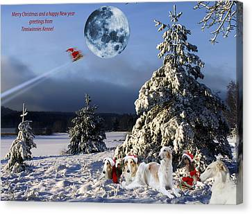 Christmas Greetings From Borzoi Sight-hounds Canvas Print by Christian Lagereek