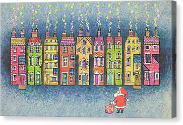 Father Christmas Canvas Print - Christmas Greetings  by Stanley Cooke
