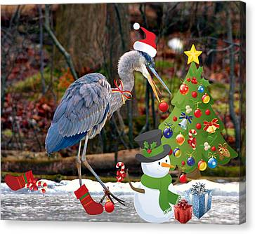 Christmas Heron Canvas Print by Angel Cher