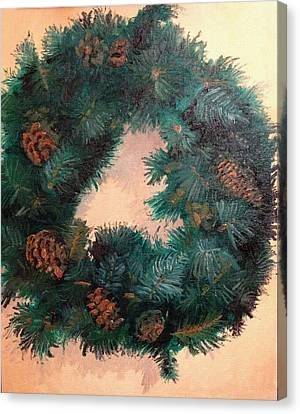 Christmas Holiday Wreath Canvas Print by Arch