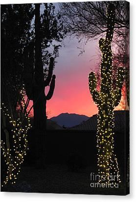 Christmas Cactus Canvas Print - Christmas In Arizona by Marilyn Smith
