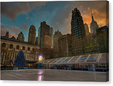 Christmas In Bryant Park Canvas Print by Mike Horvath