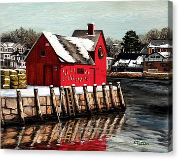 Christmas In Rockport Canvas Print by Eileen Patten Oliver