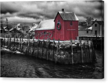 Christmas In Rockport New England Canvas Print by Jeff Folger