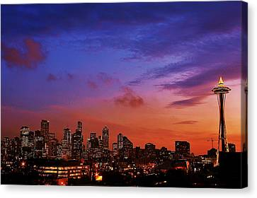 Christmas In Seattle Canvas Print by Benjamin Yeager
