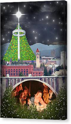 Christmas In Spokane Canvas Print by Mark Armstrong