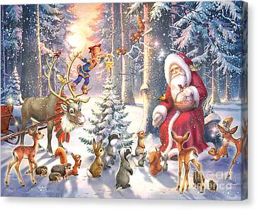 Christmas In The Forest Canvas Print by Zorina Baldescu