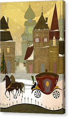 Christmas In The Old World Canvas Print by Kristina Vardazaryan
