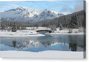 Christmas In The Rockies Canvas Print by Ramona Johnston