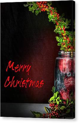 Holly Berry Still Life Canvas Print - Christmas Jar by David and Carol Kelly