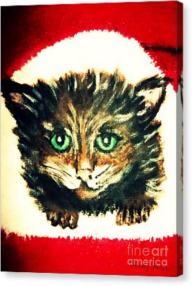 Canvas Print featuring the painting Christmas Kitten  by Mindy Bench