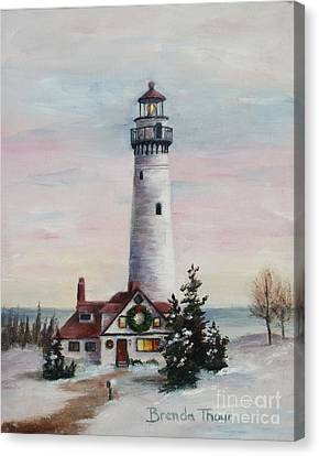 Canvas Print featuring the painting Christmas Light by Brenda Thour