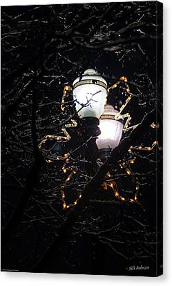 Christmas Light Post - Grants Pass Canvas Print by Mick Anderson
