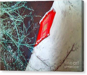Christmas Lighthouse Love Canvas Print by Jackie Bodnar