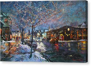 Thin Canvas Print - Christmas Lights In Elmwood Ave  by Ylli Haruni