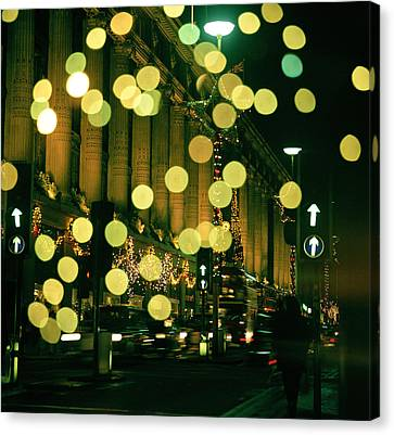 Streetlight Canvas Print - Christmas Lights In Oxford Streeet by Unknown Photographer