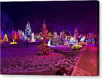 Christmas Lights In Town Park - Fantasy Colors Canvas Print