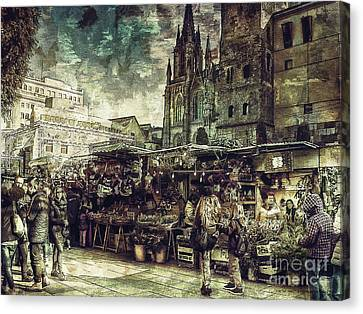 Christmas Market - A Dickensian Look Canvas Print by Pedro L Gili