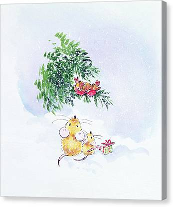 Christmas Mice And Robins Canvas Print by Diane Matthes
